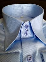 MorCouture Sky Blue Woven 3Button High Collar Shirt