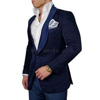 Navy Embossed Tuxedo Suit 44R or 46R slim fit