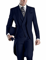 Navy Tuxedo Tail 4pc Suit