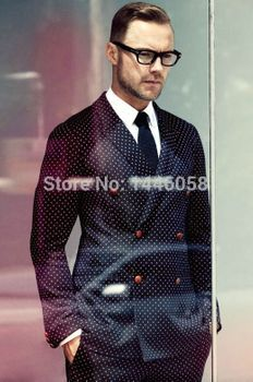 Dark Navy White Pin Dot Suit