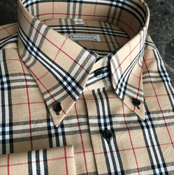 New MorCouture Tan Plaid Shirt