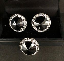 Onyx Silver Swarovski Crystals Button Cover/Cufflinks Set.