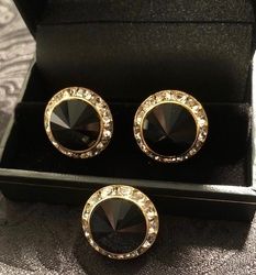 Onyx Gold Swarovski Crystals Button Cover/Cufflinks Set