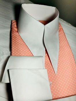 MorCouture Pink Polka dot Angel Wing Couture High Collar Shirt