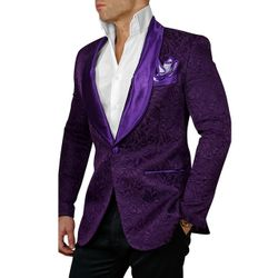 Purple Embossed Shawl Tuxedo Blazer -Special order