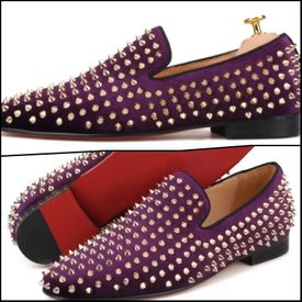 Purple Gold Spike Slip-on Shoes