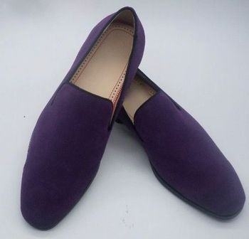 Purple Suede Slip on Shoes
