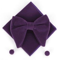 Purple Velvet Bow Tie Pocket Square Cufflinks Set