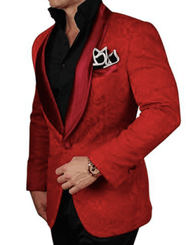 Red Embossed Shawl Collar Tuxedo Blazer -special order