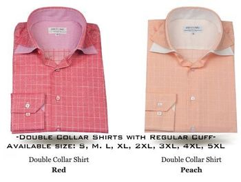 Angelino Red Check or Peach Check Double Collar Shirts