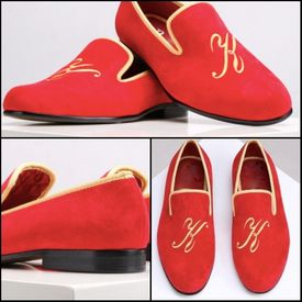 Red Suede Initial Custom &nbsp &nbsp Slip-on Shoes