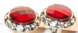 Red Swarovski Crystal w/Gold trim Cufflinks.