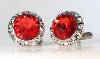 Red Swarovski Crystals w/Silver trim Cufflinks.