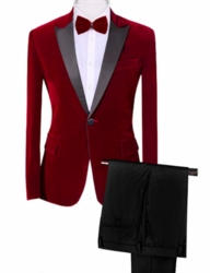 Red Velvet Black Peak Lapel Tuxedo -special order