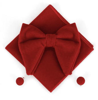Red Velvet Bow Tie Pocket Square Cufflinks Set