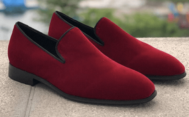 Red Velvet Slipon Loafers
