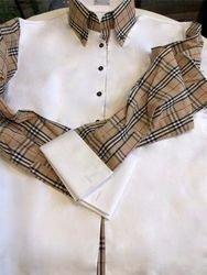 Rhonda MorCouture Tan Check sections Shirt-Custom MTM