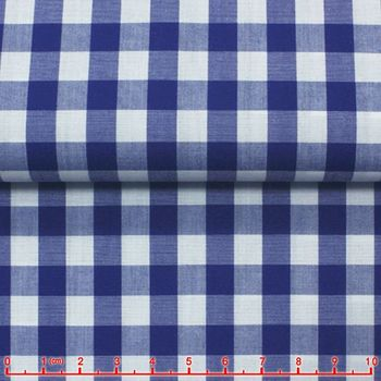 Royal Blue Gingham Spread Collar Shirt -Special order