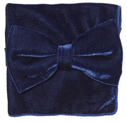 Royal Blue Purple Velvet Bow Tie Pocket Square Set. Click im