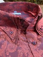 MorCouture Rust Triple Collar Paisley shirt 3XL(19- 19.5)