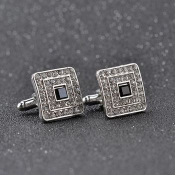 Silver Black Gem stone Cufflinks
