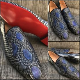 Silver Blue Reptile Slip-on Shoe