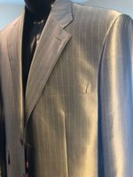 Silver with White Pinstripe Suit 46R