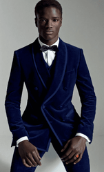 Trimmed Navy Shawl Collar 3pc Tuxedo -special order