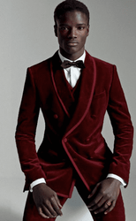 Trimmed Dark Red Shawl Collar 3pc Tuxedo -special order