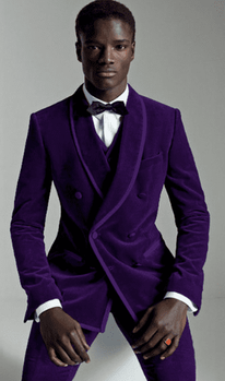 Trimmed Purple Shawl Collar 3pc Tuxedo -special order