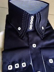 Triple Centipede Collar Shirt-Black