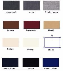 Tuxedo Tail 4pc Suit Color Chart