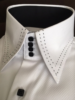 White Black Stitch High 4 button Collar Shirt 4XL(20 - 20.5)