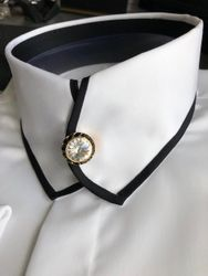 White Black Trim Casanova Shirt with Clear Swarovski Crystal