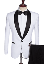 White Black Trim Shawl Collar Tuxedo -Special order