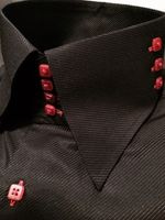 MorCouture Black Red 4/3 High Collar shirt