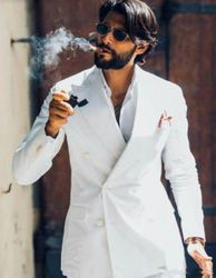 White Double Breasted Suit