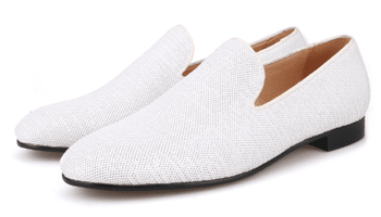 White Sequin Fabric Slip-on Shoes