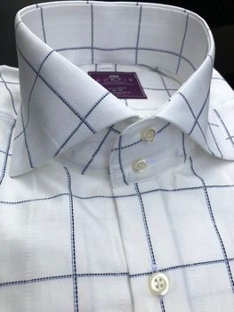 H&C White Navy Windowpane High Collar Shirt XXLslimfit (-box7)
