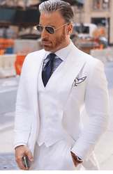 White Peak Lapel 3pc Suit