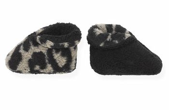 1 + In The Family Fuzzy Black Leopard Booties