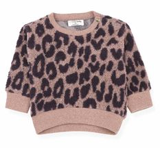 1 + In The Family Leopard Fuzzy Sweatshirt Rose (3MOS, 9MOS, 18MOS, 48MOS)