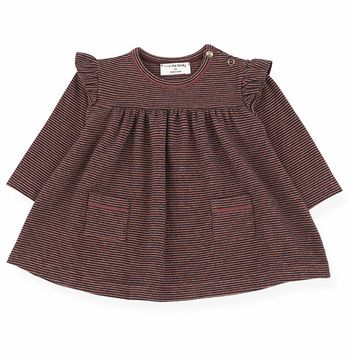 1 + In The Family Stripe Pocket Dress Navy & Burgandy (1Mos & 3Mos)