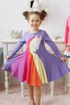 Lemon Loves Lime Rainbow Unicorn Dress for Girls (2,3,7,8)