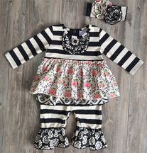 A Classic in Black and Ivory Longall (Size 12Mos)