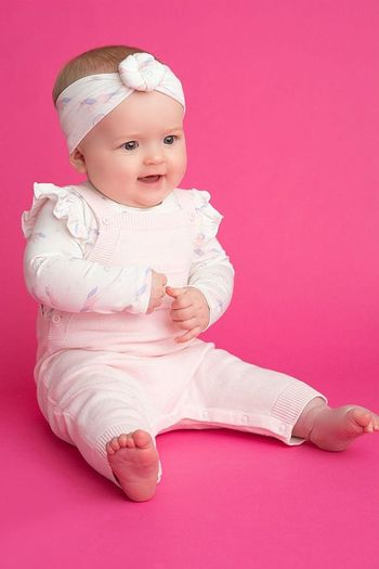 Angel Dear Cotton Sweater Overall in Pink (3-6Mos & 18-24Mos)