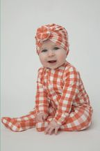 Angel Dear Gingham Pumpkin Footie (Size 3-6Mos)