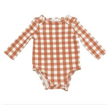Angel Dear Gingham Pumpkin Onesie (0-3Mos,3-6Mos,6-9Mos)