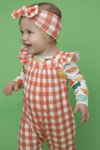 Angel Dear Gingham Pumpkin Smocked Coverall