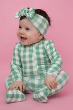 Angel Dear Green Gingham Footie (Size 18-24Mos)